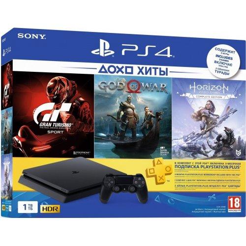 Игровая приставка Sony Playstation 4 Slim 1Tb [CUH-2208A] Black + GTS + God Of War + Horizon