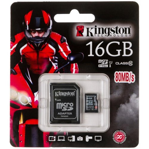 Карта памяти Kingston microSDHC 16Gb Class 10 UHS-I SDC10G2/16GB-80